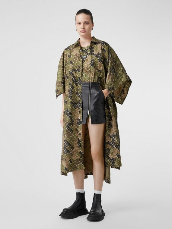 Monogram Print Nylon Twill Poncho in Khaki Green
