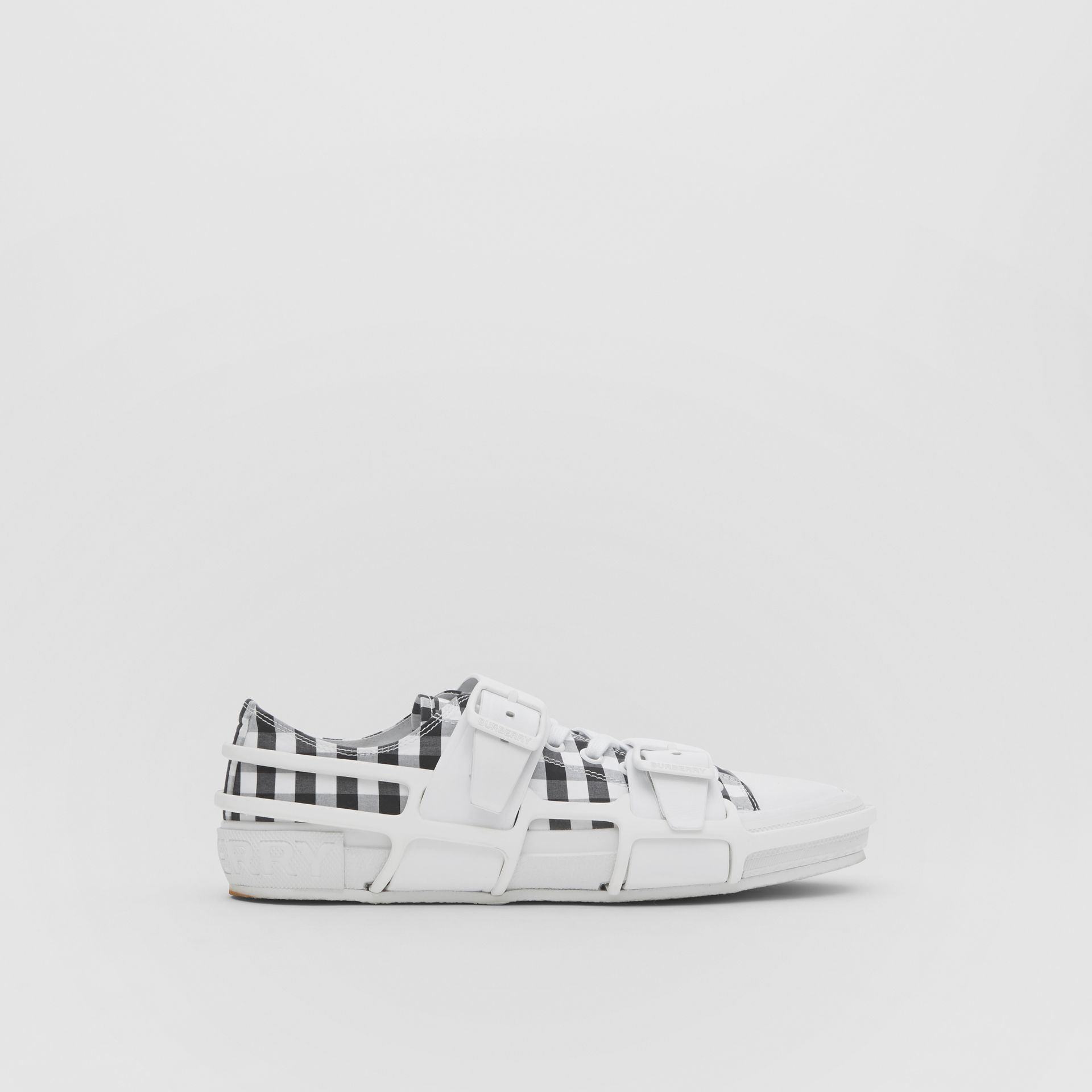 Gingham Cotton and Leather Webb Sneakers in White/black | Burberry United Kingdom - gallery image 5