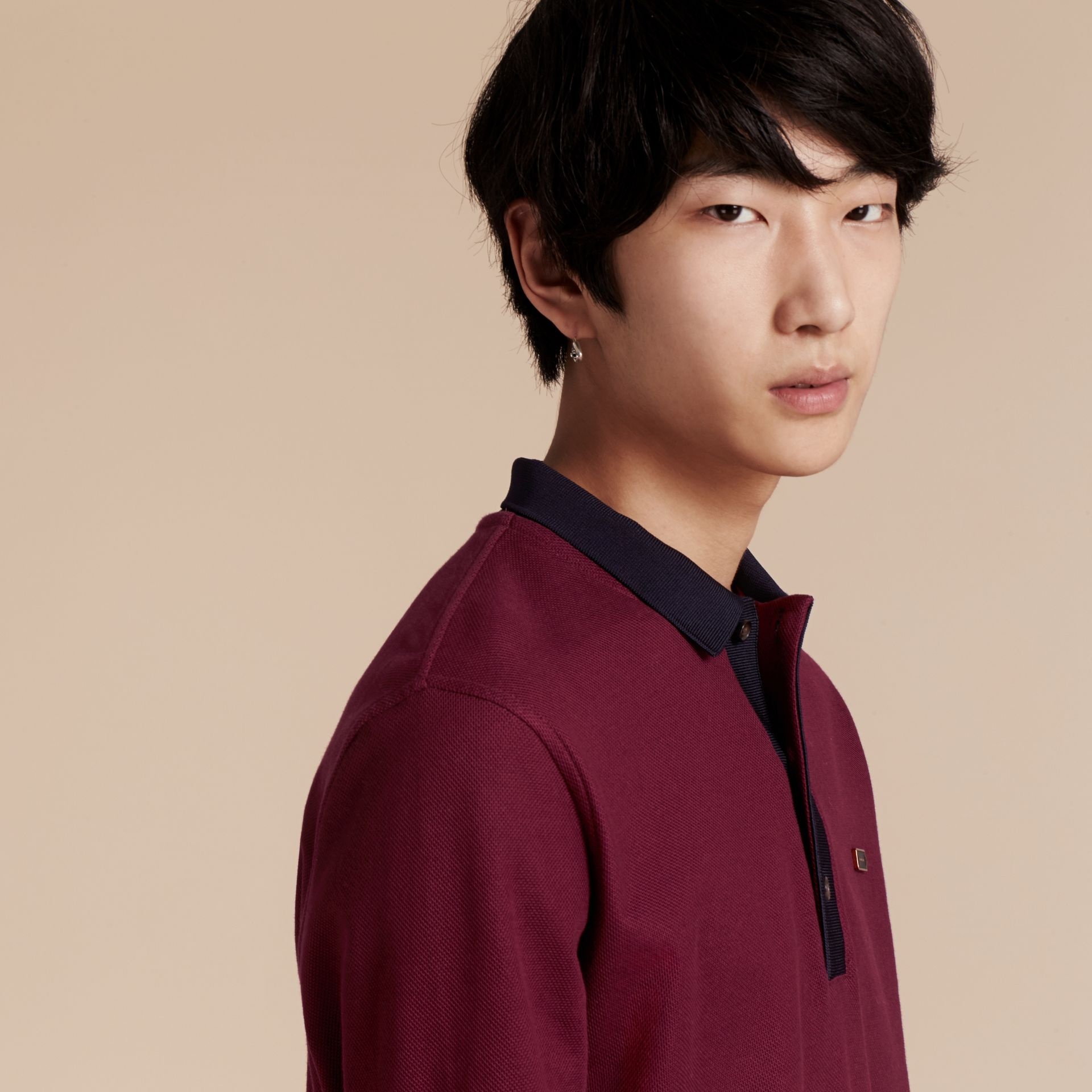 Boysenberry/navy Long-sleeved Cotton Piqué Polo Shirt Boysenberry/navy - gallery image 5