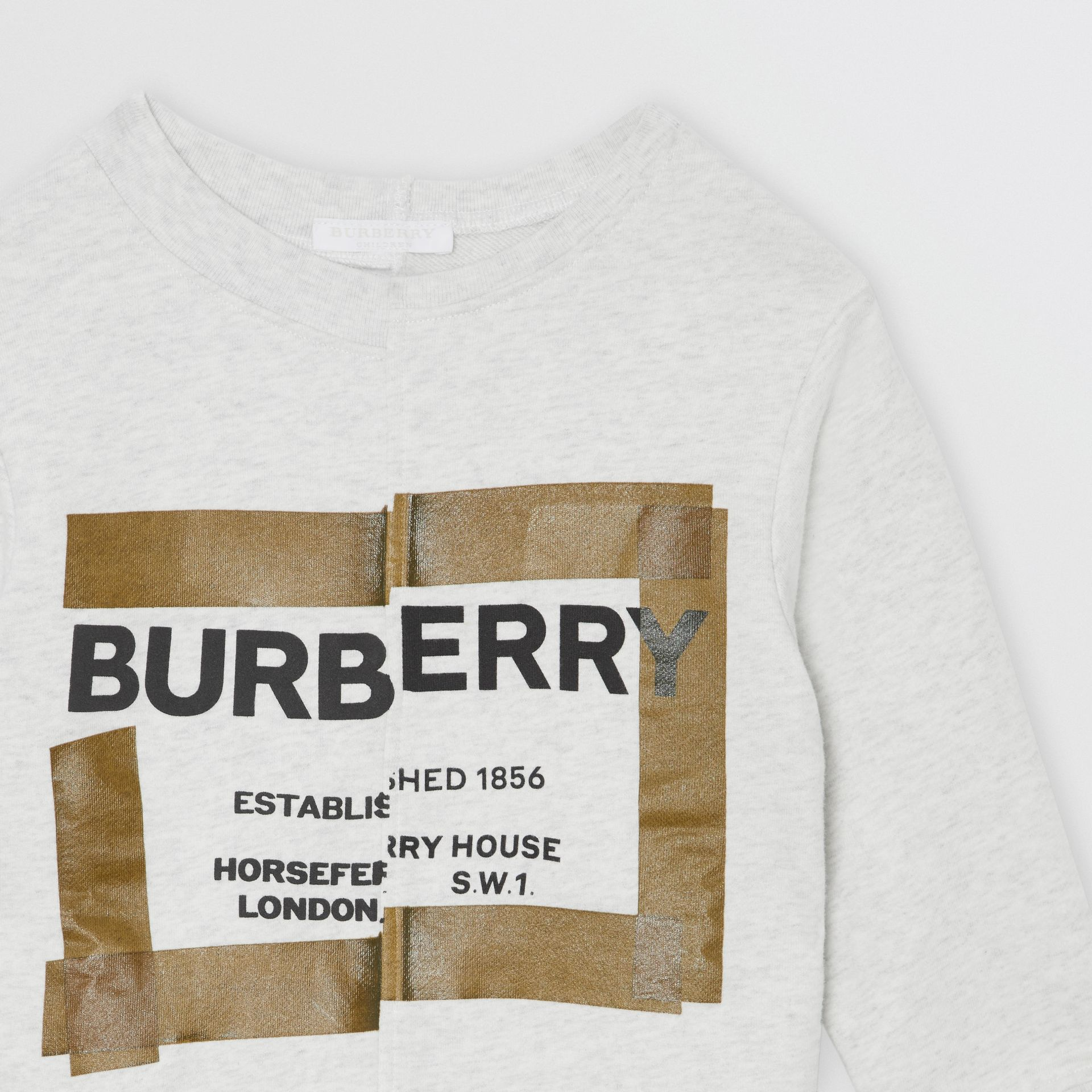 Horseferry Print Cotton Sweatshirt in White Melange | Burberry Singapore - gallery image 4