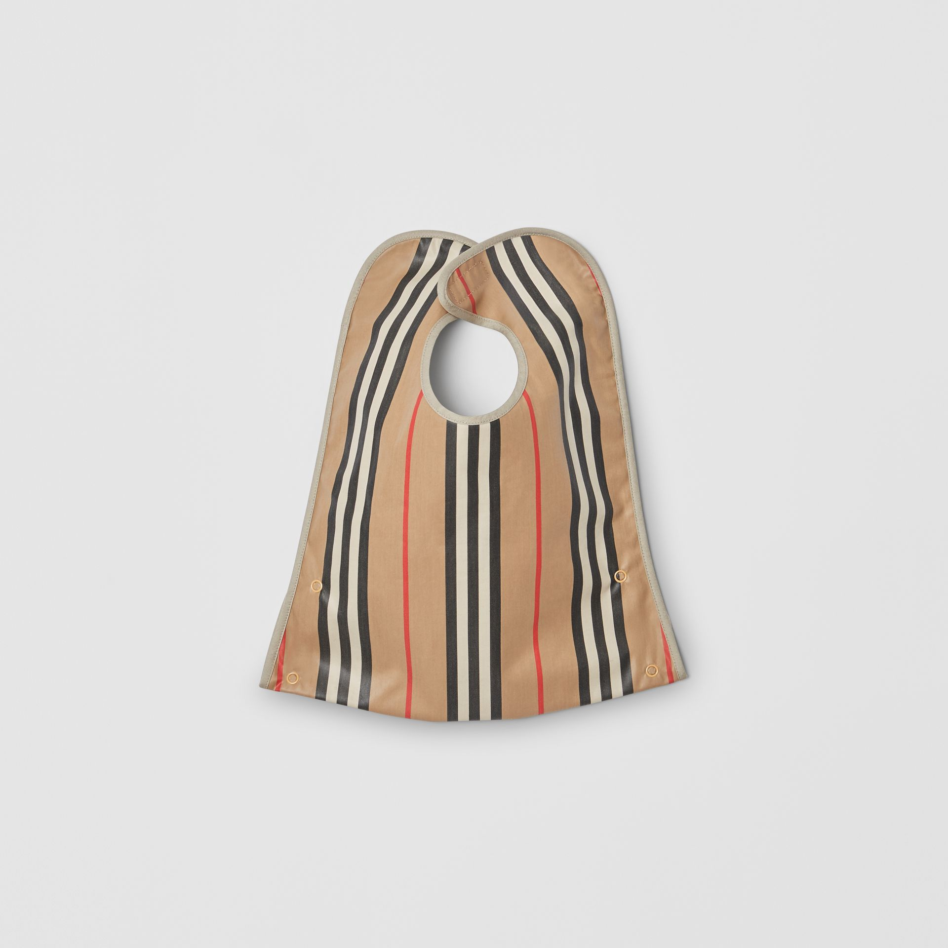 Coated Icon Stripe Cotton Baby Bib in Archive Beige - Children | Burberry United Kingdom - gallery image 2