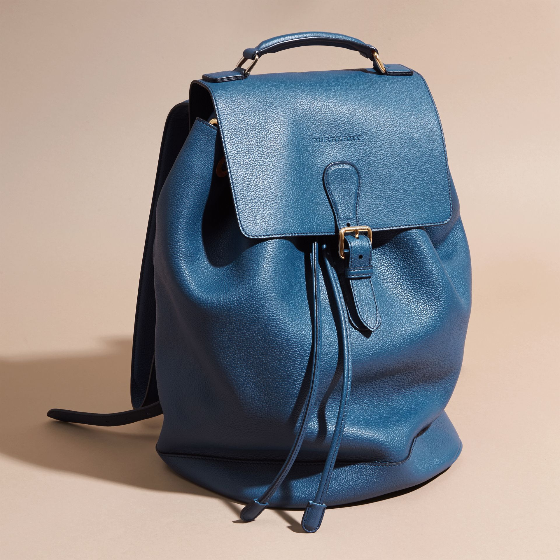Mineral blue Grainy Leather Backpack Mineral Blue - gallery image 8