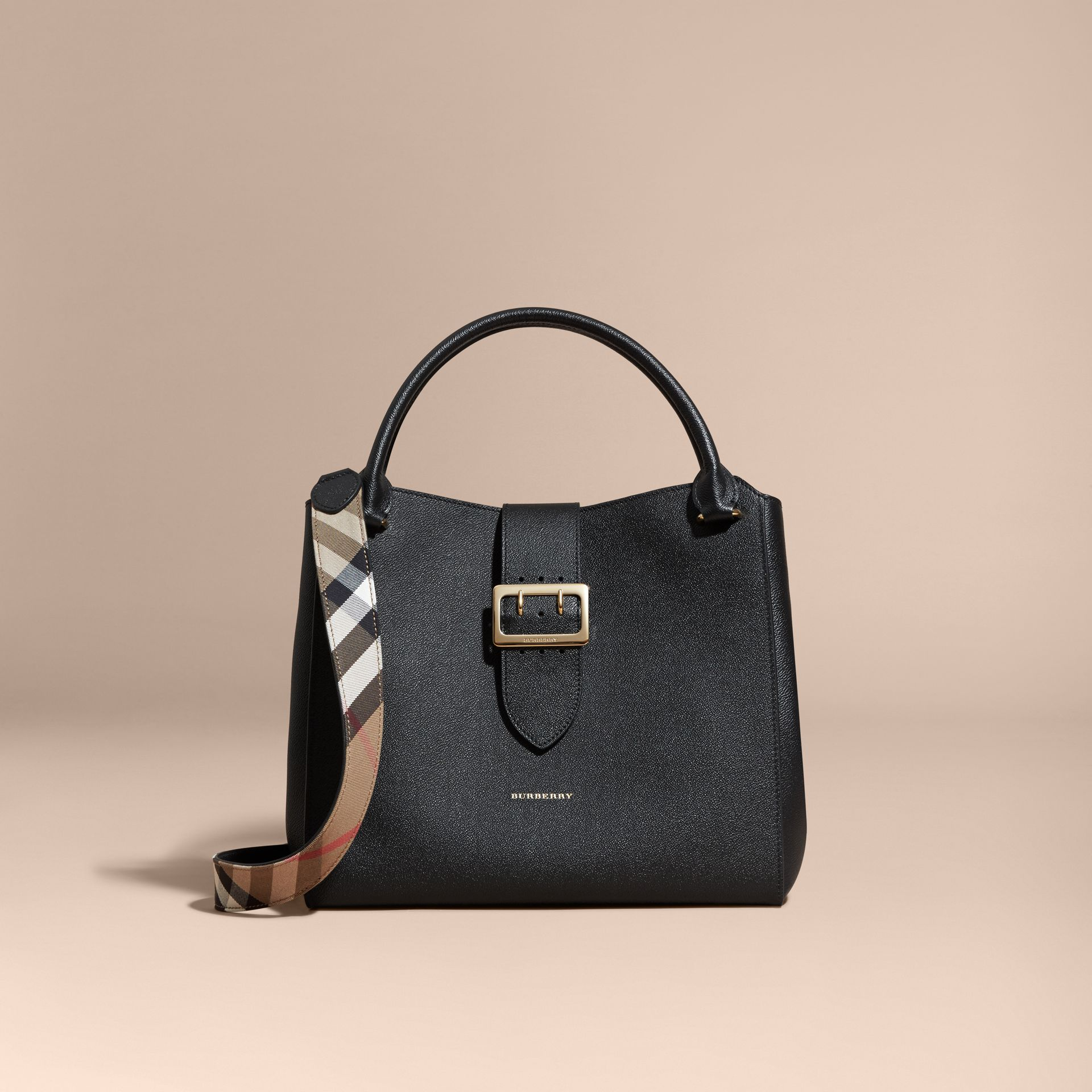 The Large Buckle Tote in Grainy Leather Black - gallery image 9