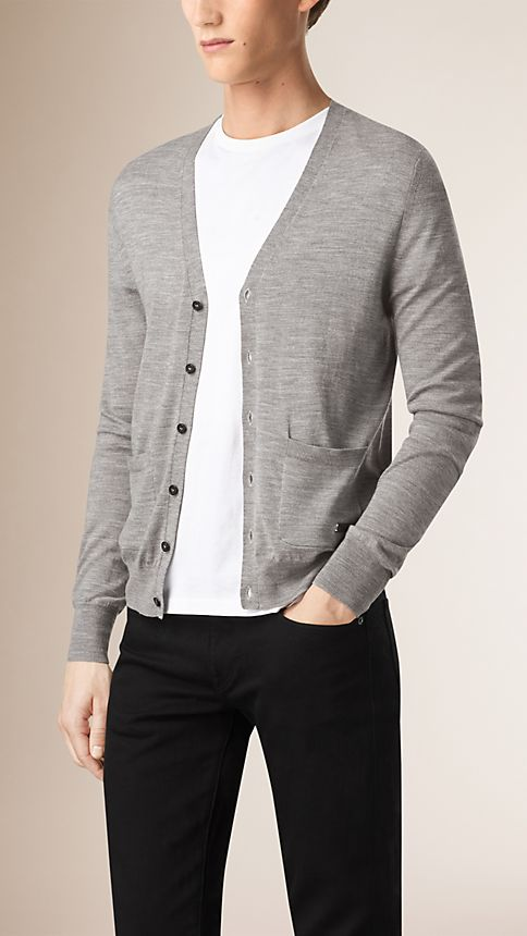 Mid grey melange V-Neck Merino Wool Cardigan - Image 2