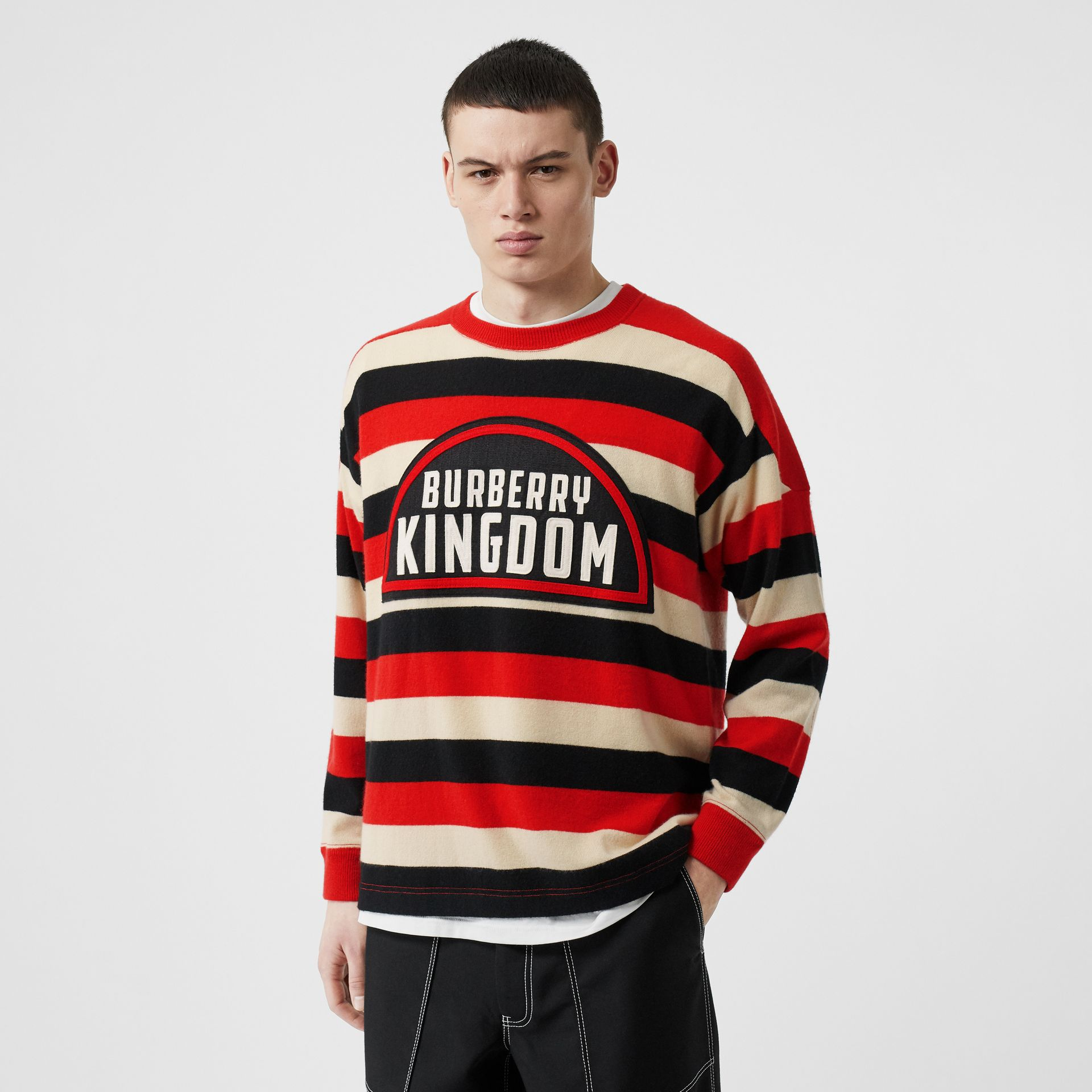 Kingdom Detail Striped Cashmere Sweater in Bright Red - Men | Burberry - gallery image 4