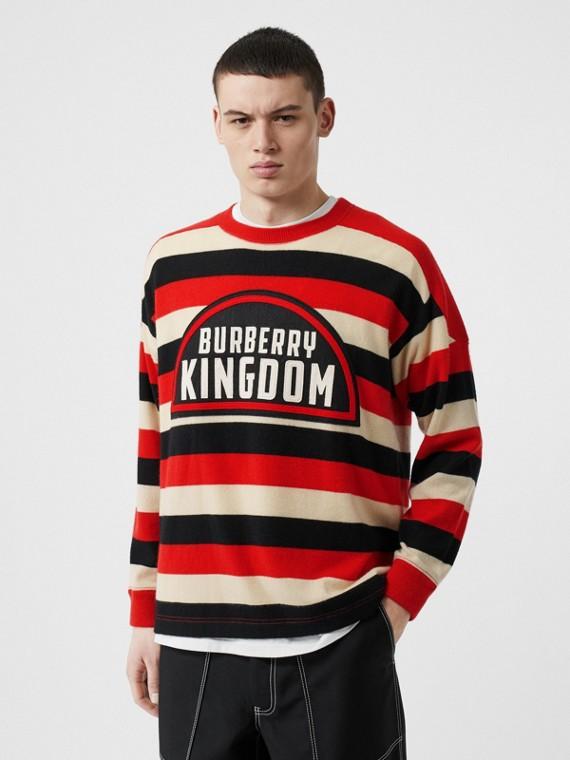 Pullover in cashmere a righe con scritta Kingdom (Rosso Intenso)