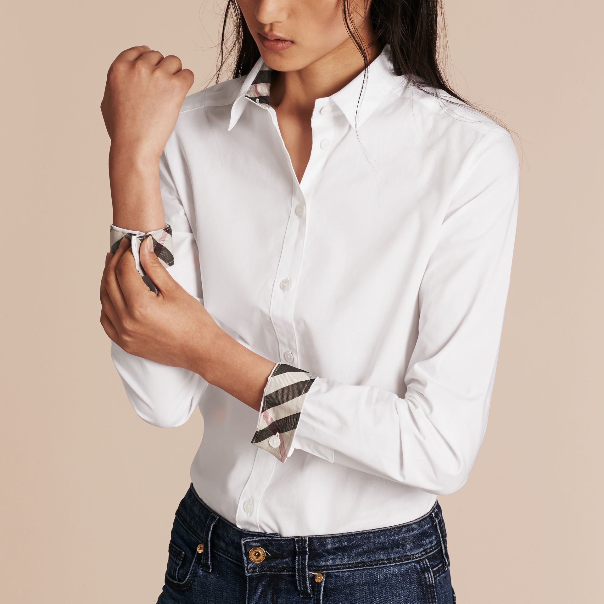 White Check Detail Stretch Cotton Shirt - gallery image 5