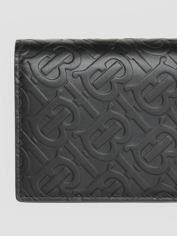 Monogram Leather Continental Wallet in Black - Men | Burberry United Kingdom - cell image 1