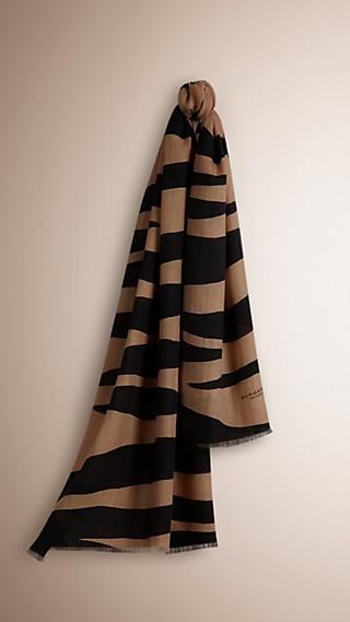 Zebra Print Lightweight Cashmere Scarf