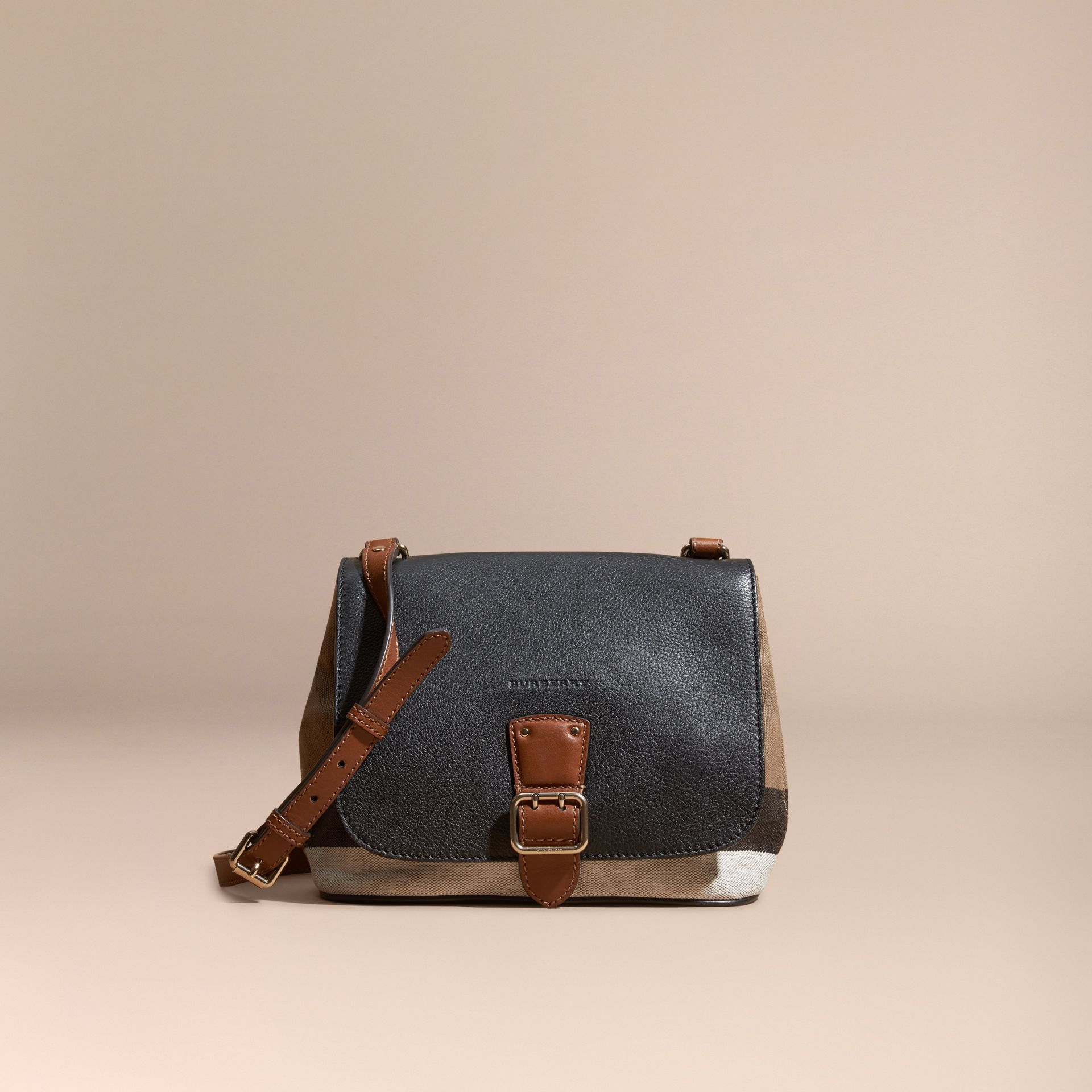 Black Canvas Check and Leather Crossbody Bag Black - gallery image 8