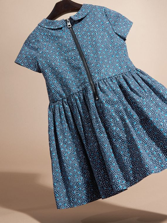 Pale navy Pleat Detail Painterly Spot Print Cotton Dress - cell image 3