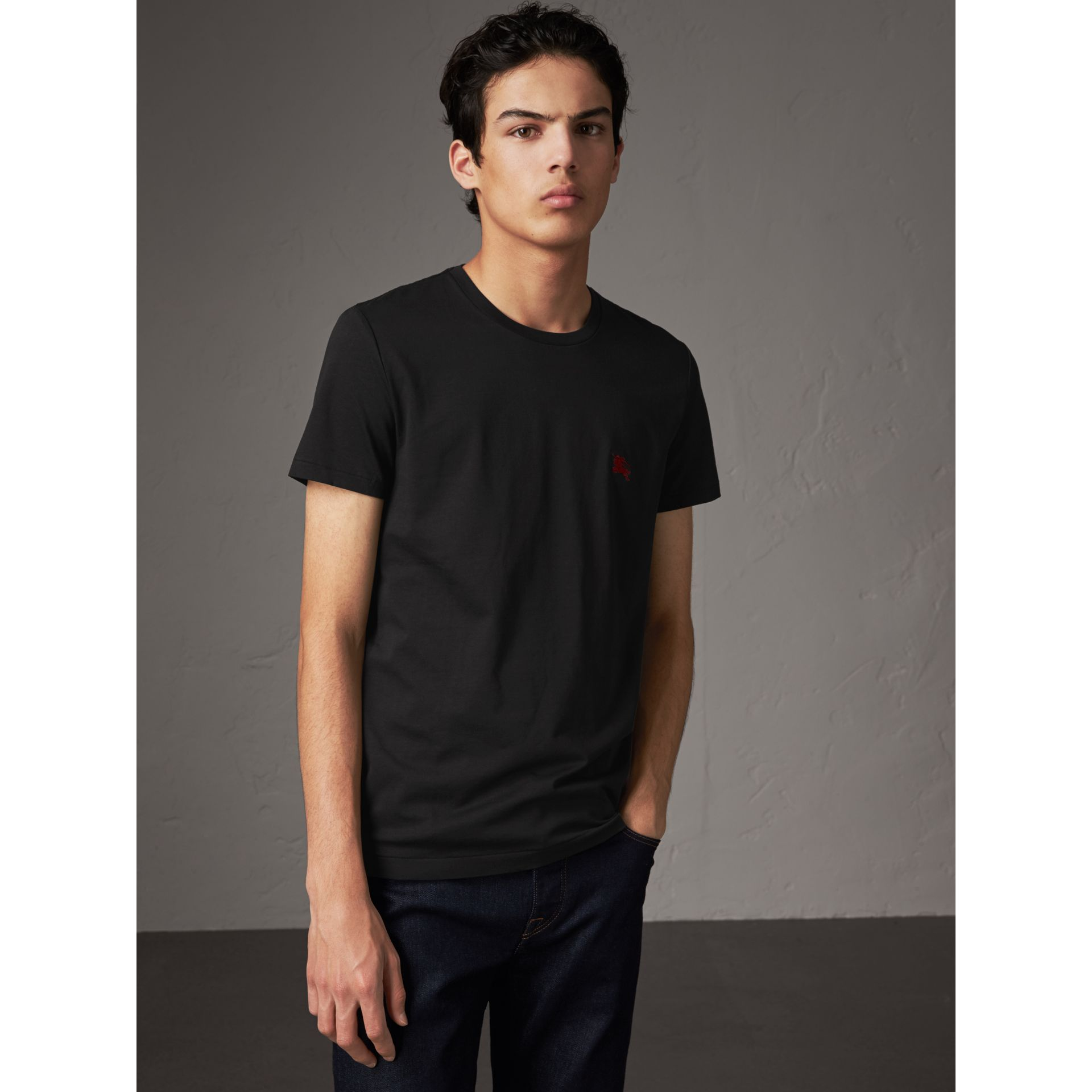 Cotton Jersey T-shirt in Black - Men | Burberry United Kingdom - gallery image 1