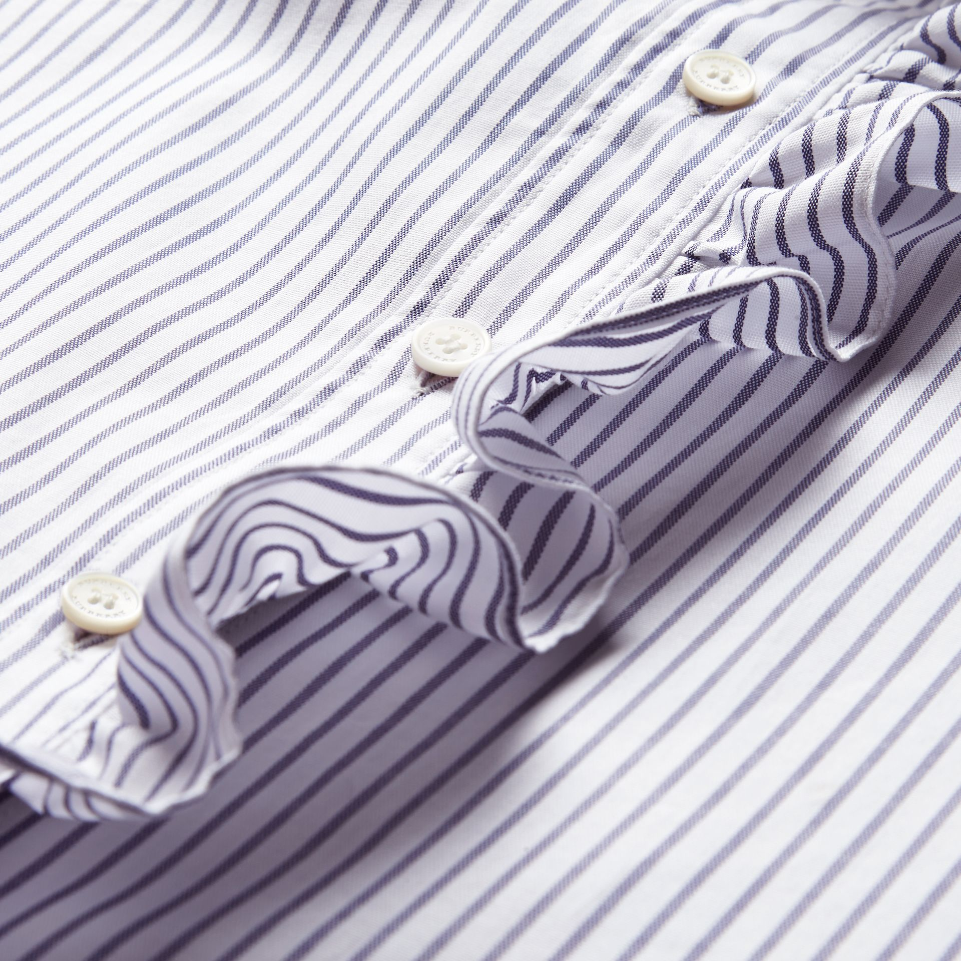 Navy Pinstriped Cotton Shirt with Ruffles - gallery image 2