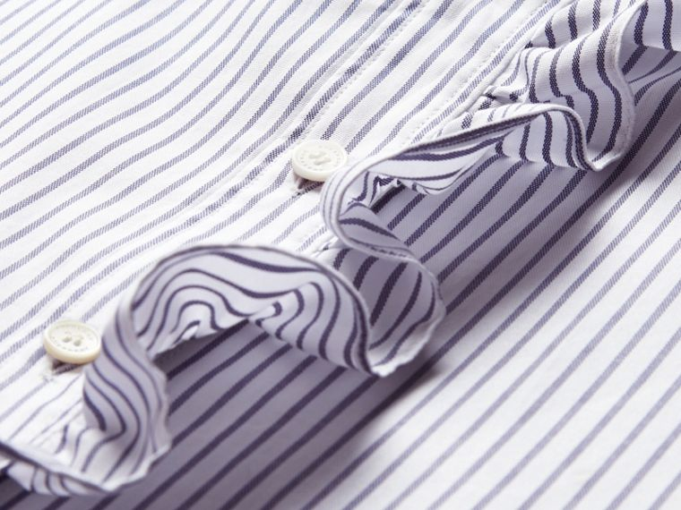 Pinstriped Cotton Shirt with Ruffles - cell image 1