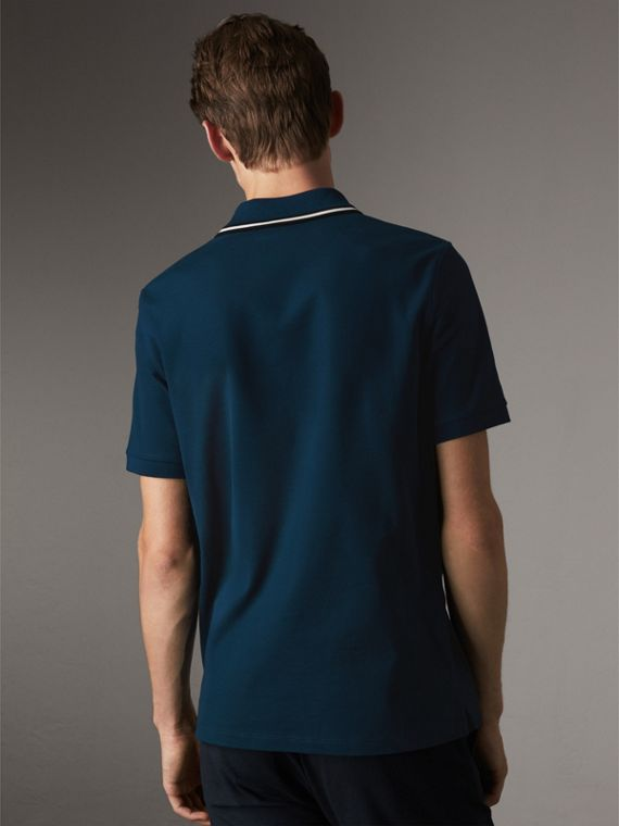Striped Collar Cotton Piqué Polo Shirt in Canvas Blue - Men | Burberry - cell image 2
