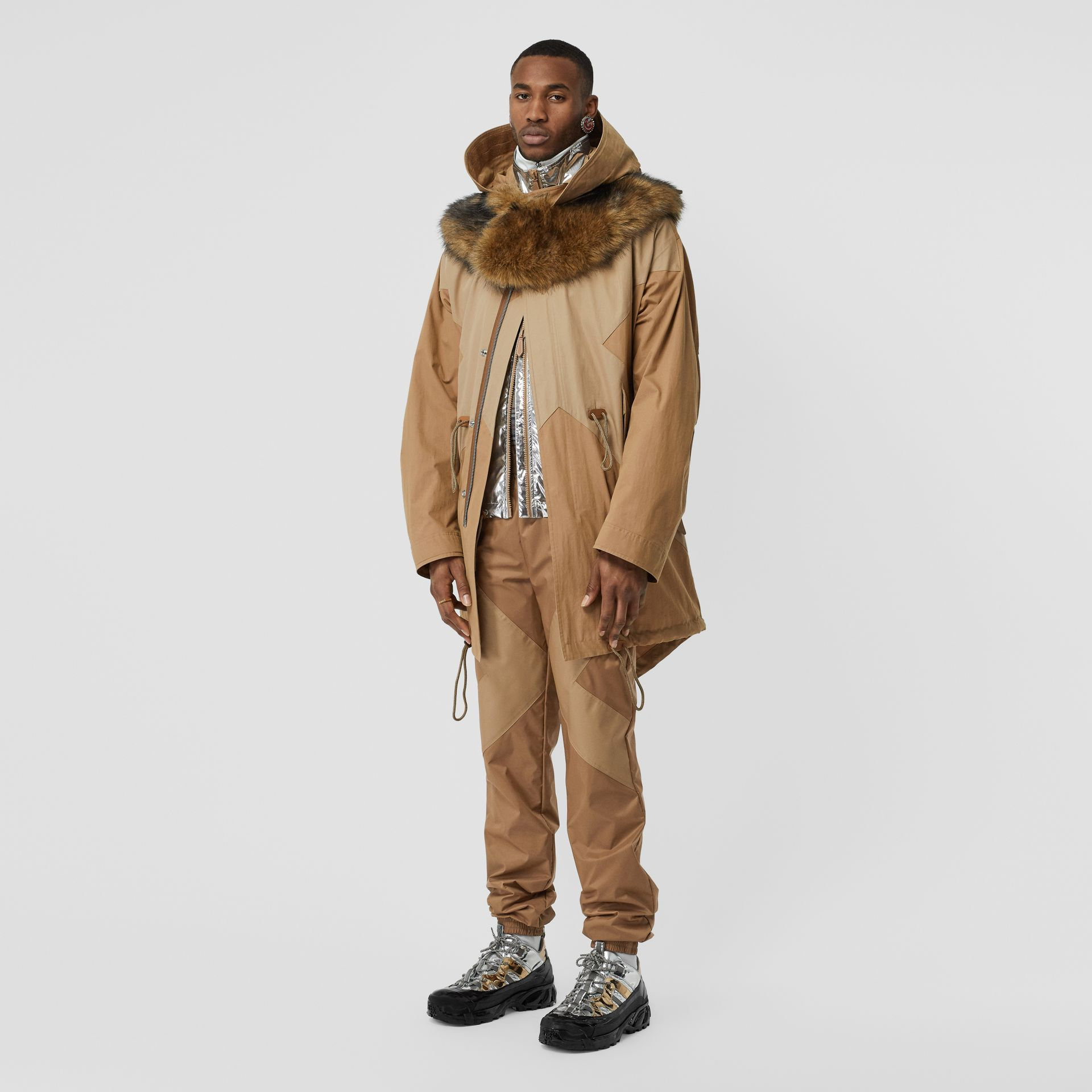 Detachable Hood Cotton Blend Parka in Warm Walnut - Men | Burberry - gallery image 0