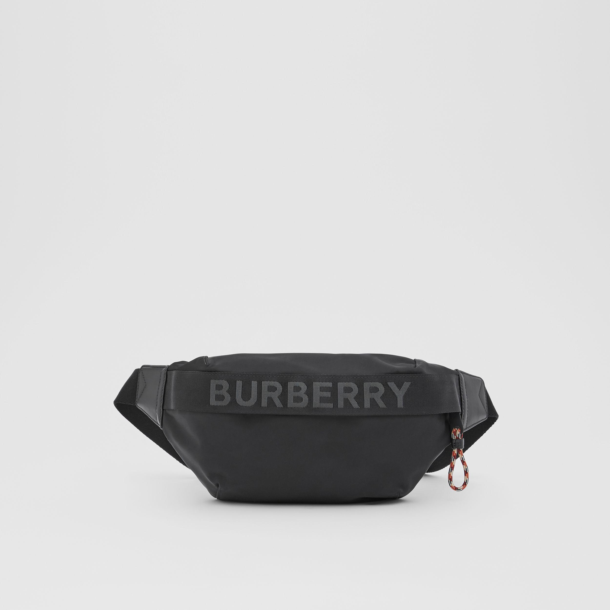 Logo Detail ECONYL® Sonny Bum Bag in Black - Men | Burberry - 1