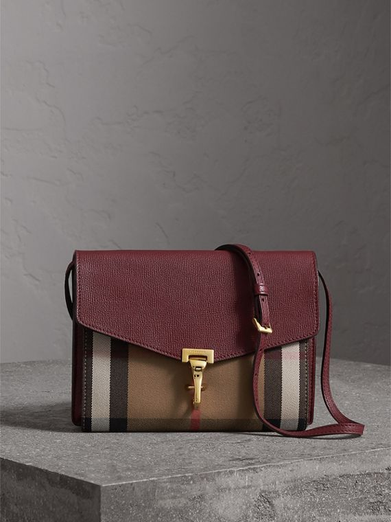 Small Leather and House Check Crossbody Bag in Mahogany Red