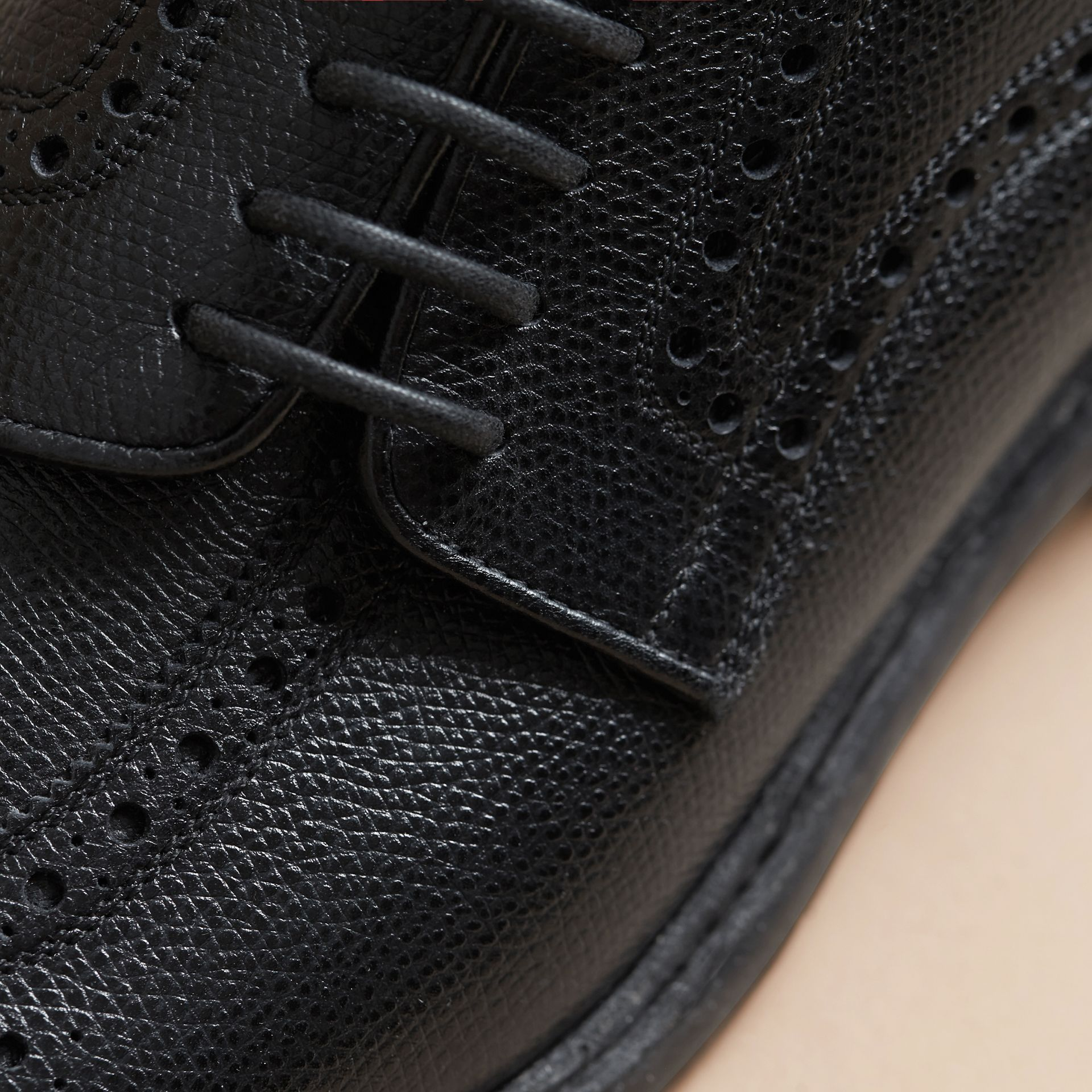 Leather Brogues with Asymmetric Closure in Black - Men | Burberry - gallery image 1