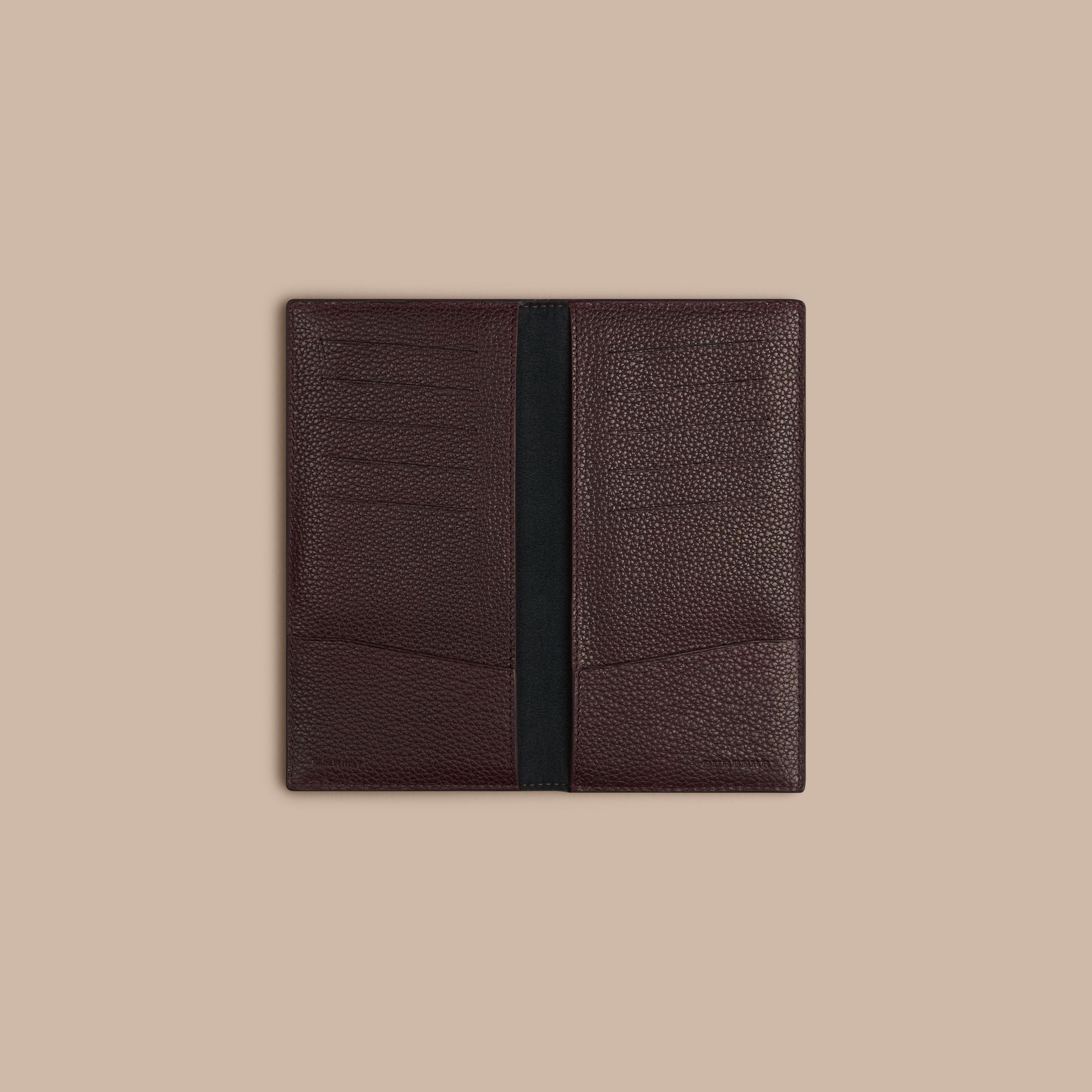 Grainy Leather Travel Card Case in Ebony Red | Burberry - gallery image 2