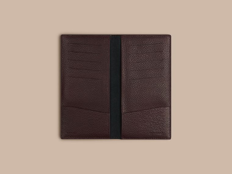 Grainy Leather Travel Card Case in Ebony Red | Burberry - cell image 1