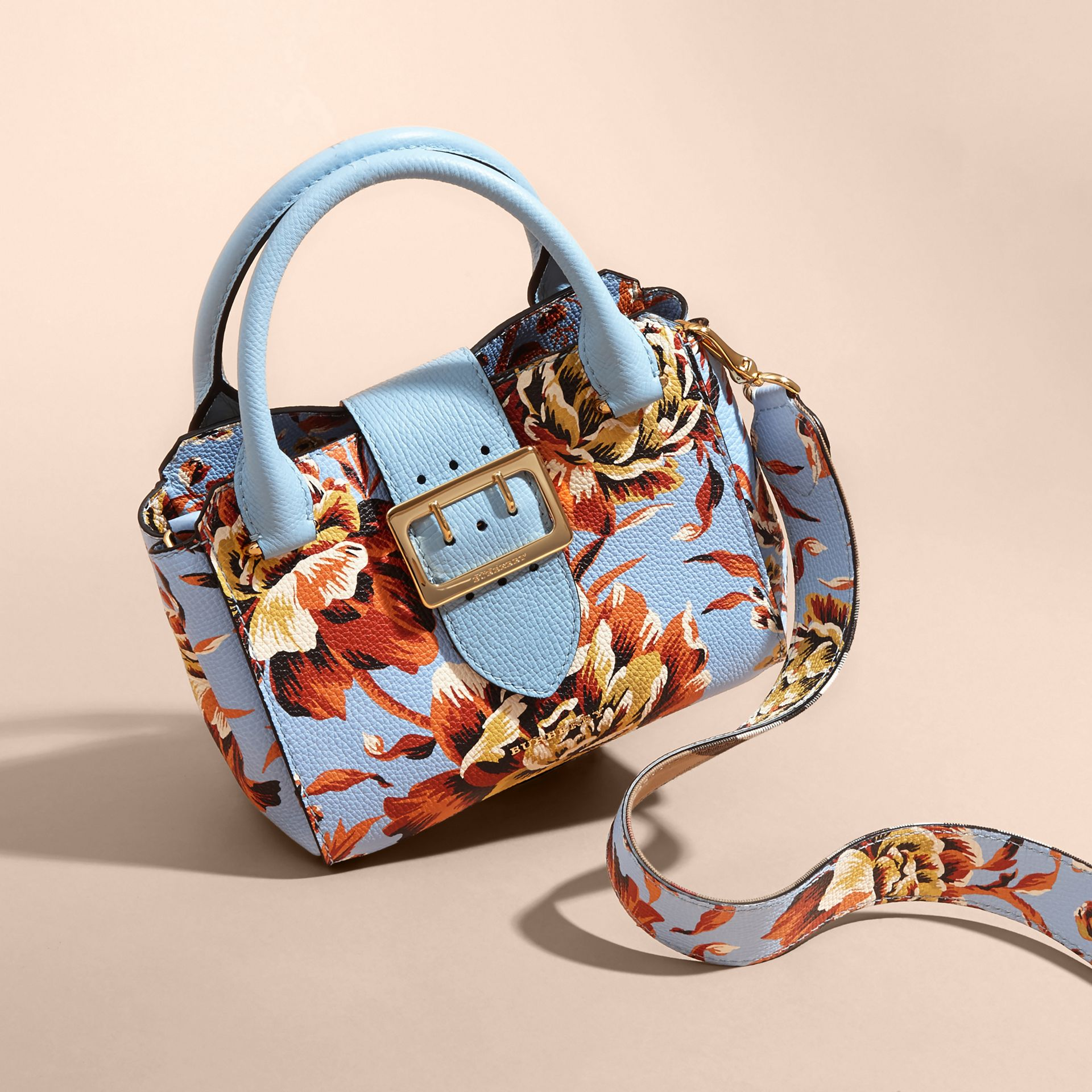 Pale blue/vibrant orange The Small Buckle Tote in Peony Rose Print Leather Pale Blue/vibrant Orange - gallery image 8
