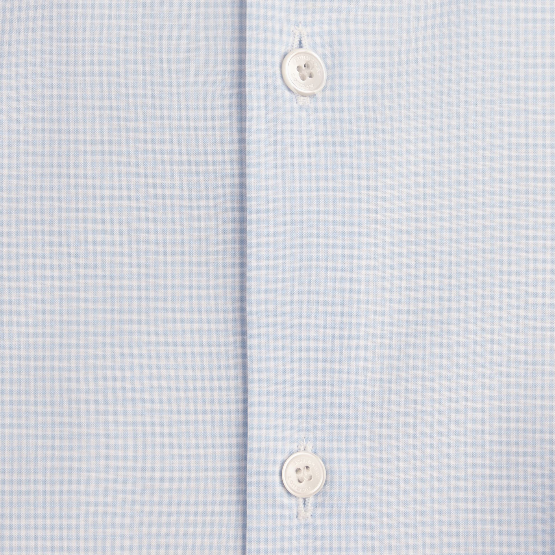 Slim Fit Button-down Collar Gingham Cotton Poplin Shirt in City Blue - gallery image 2