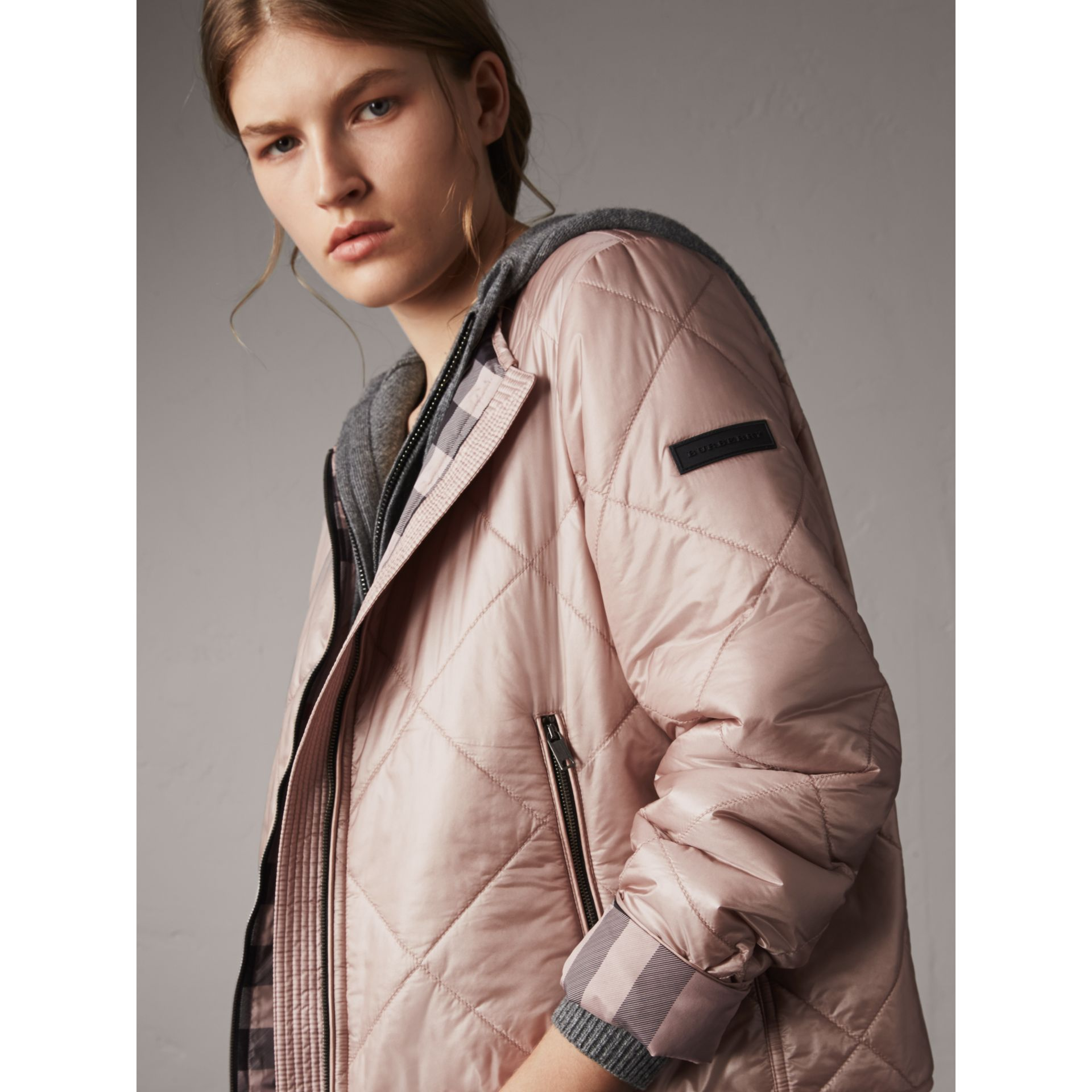 Collarless Diamond Quilted Lightweight Jacket in Nude - Women | Burberry - gallery image 4