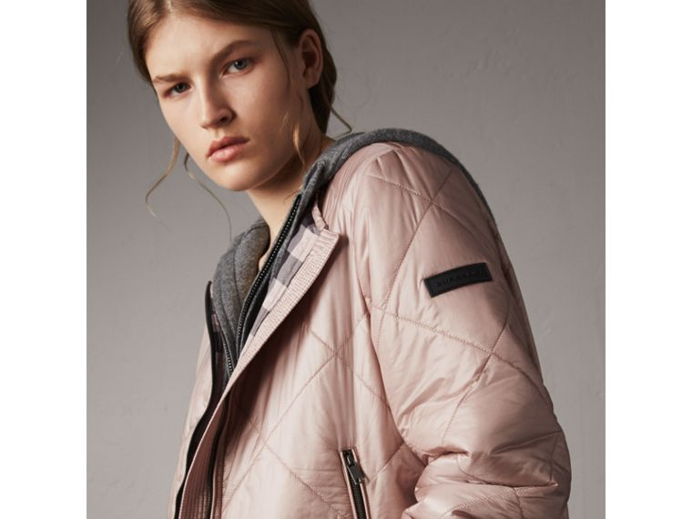 Collarless Diamond Quilted Lightweight Jacket in Nude - Women | Burberry - cell image 4