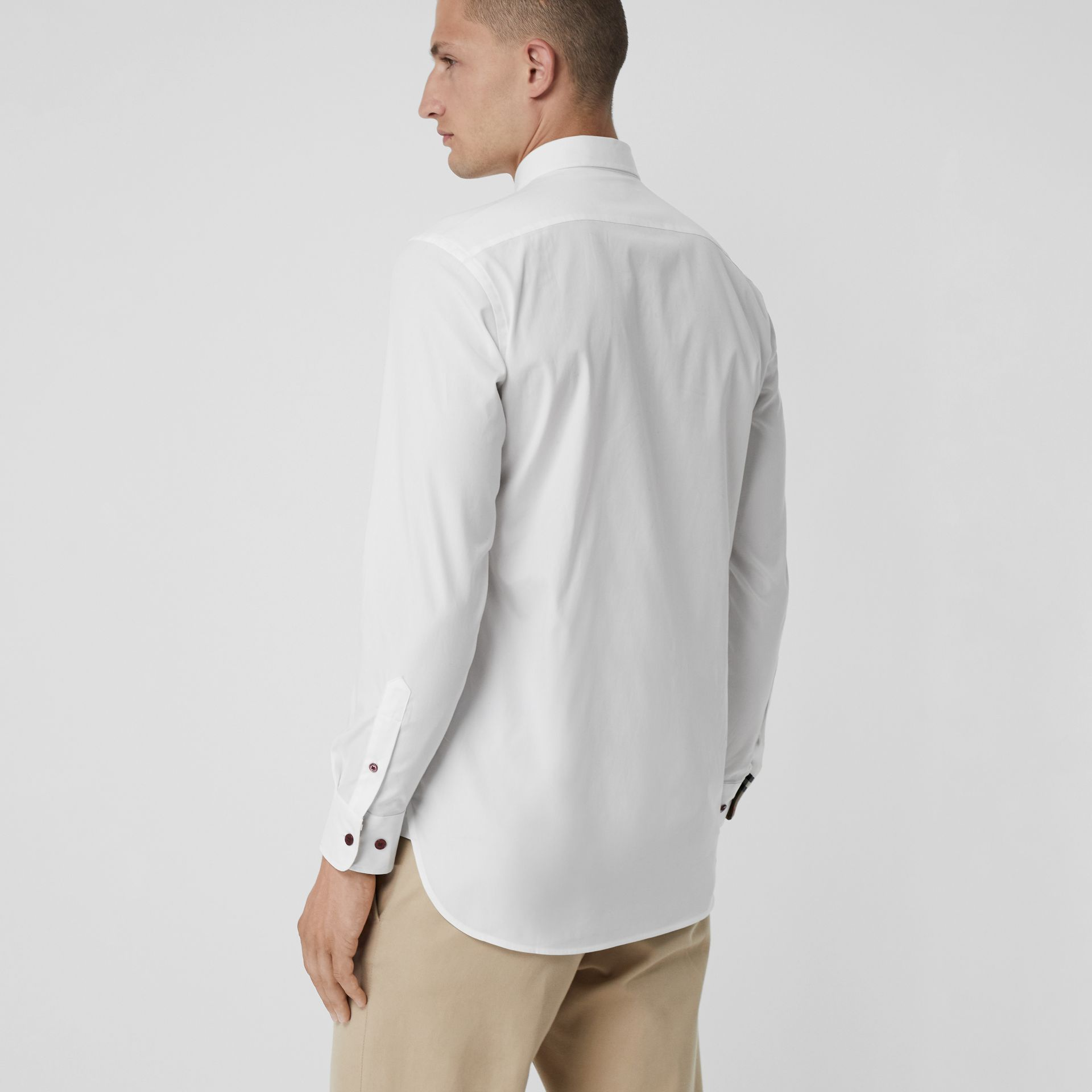 Contrast Button Stretch Cotton Shirt in White - Men | Burberry Singapore - gallery image 2