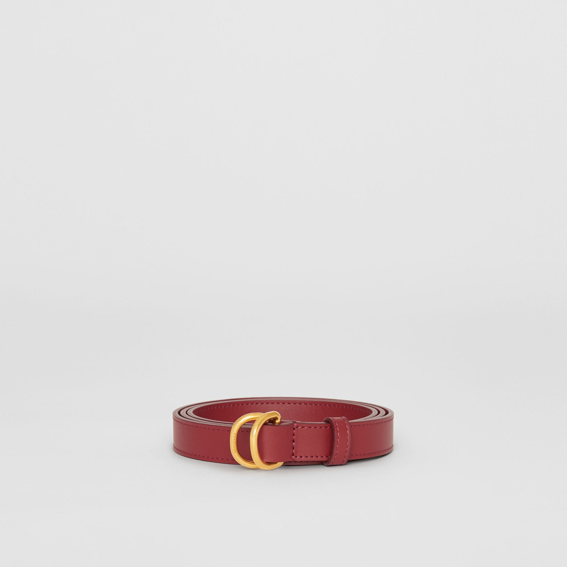 Slim Leather Double D-ring Belt in Crimson - Women | Burberry - gallery image 3
