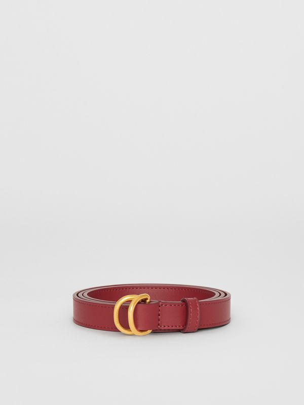 Slim Leather Double D-ring Belt in Crimson - Women | Burberry United Kingdom - cell image 3