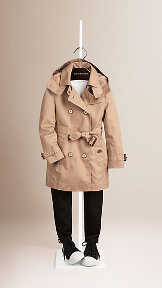 Cotton Twill Detachable Hood Trench Coat