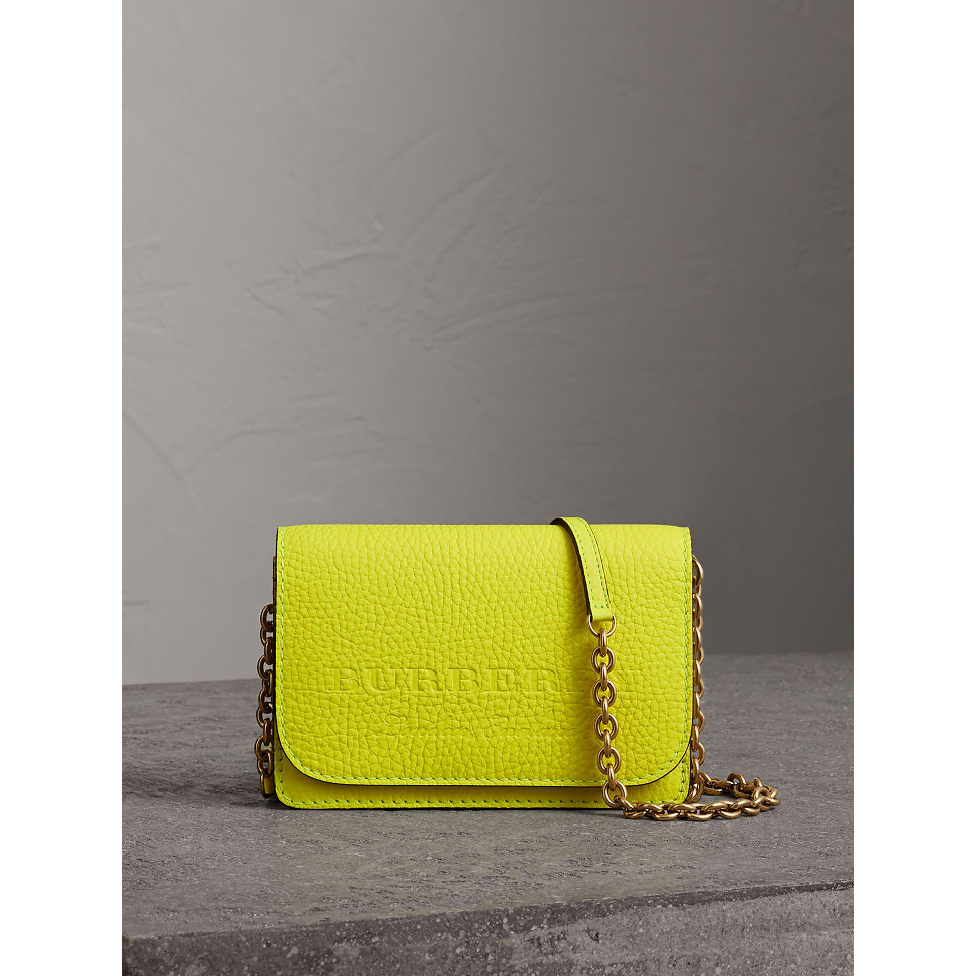 Embossed Leather Wallet with Detachable Strap in Bright Yellow - Women | Burberry Australia - gallery image 0