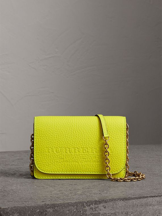 Embossed Leather Wallet with Detachable Strap in Bright Yellow