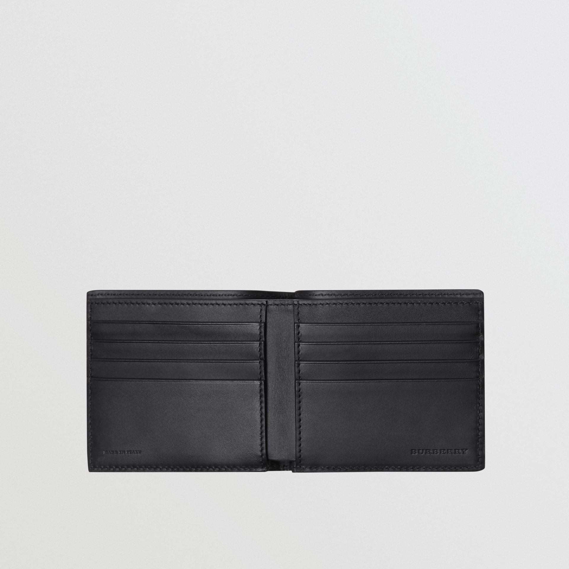 Embossed Crest Leather International Bifold Wallet in Black - Men | Burberry Canada - gallery image 3