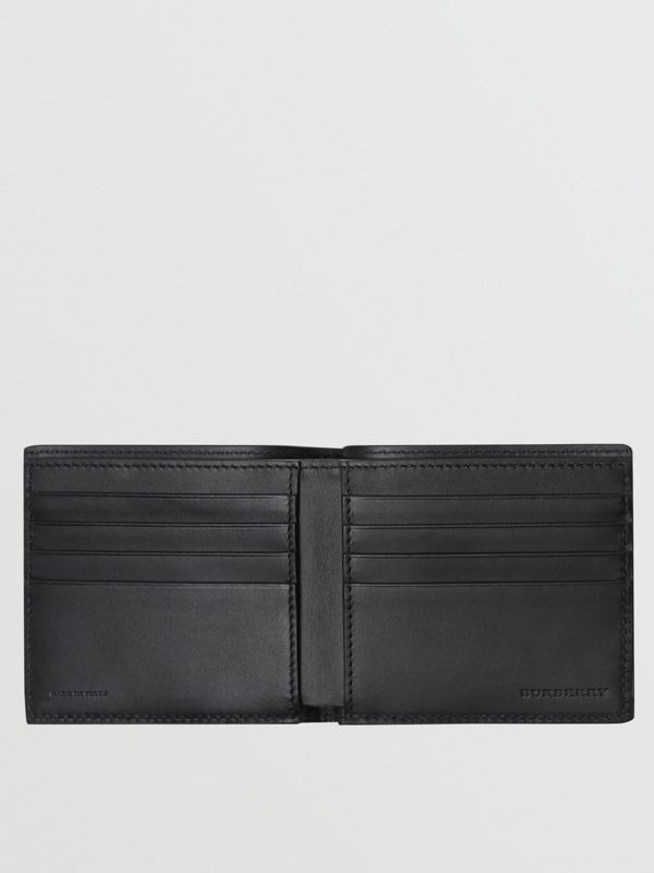 Embossed Crest Leather International Bifold Wallet in Black - Men | Burberry - cell image 3
