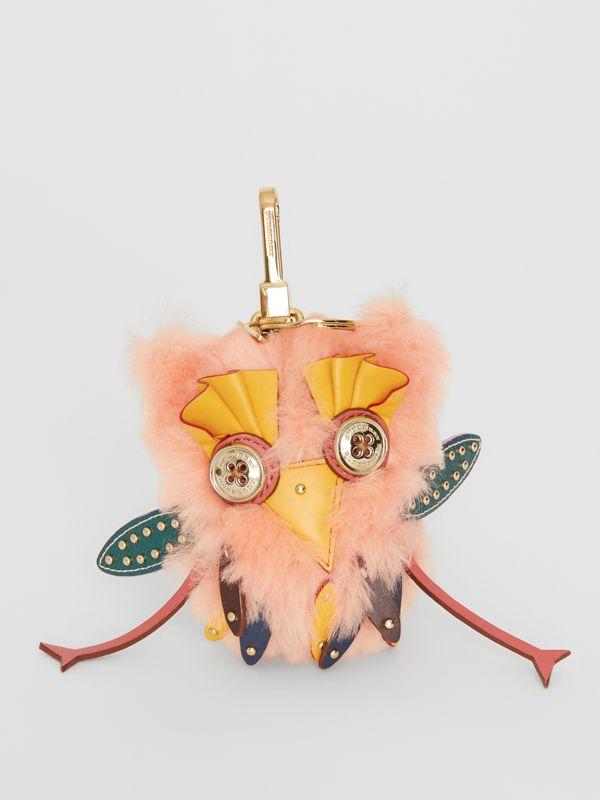 Mavis the Owl Shearling and Leather Charm in Antique Yellow | Burberry - cell image 3