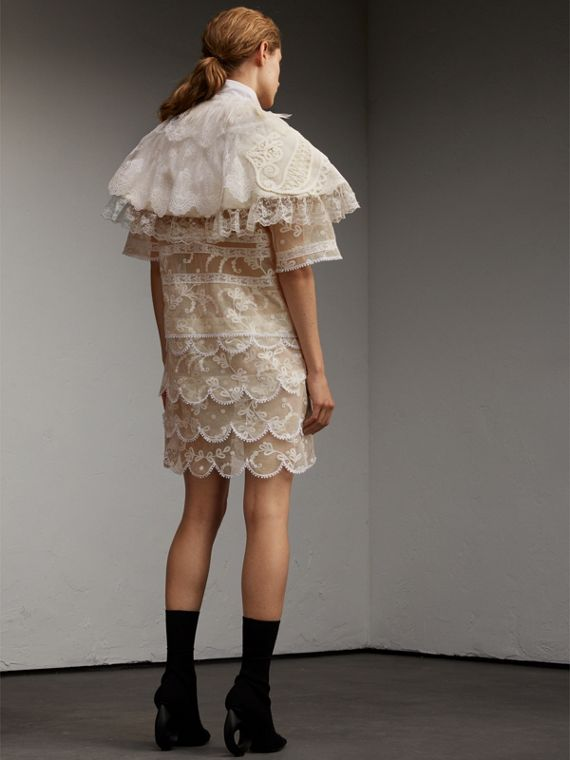 Feather Collar Detail Layered Lace Capelet - cell image 2