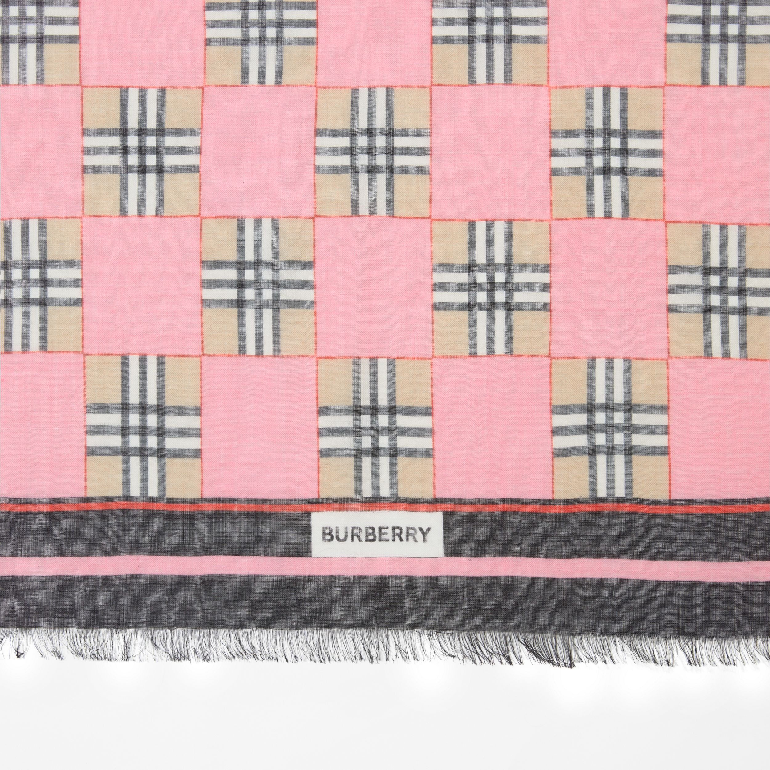 Chequer Print Wool Silk Scarf in Pink | Burberry - 2