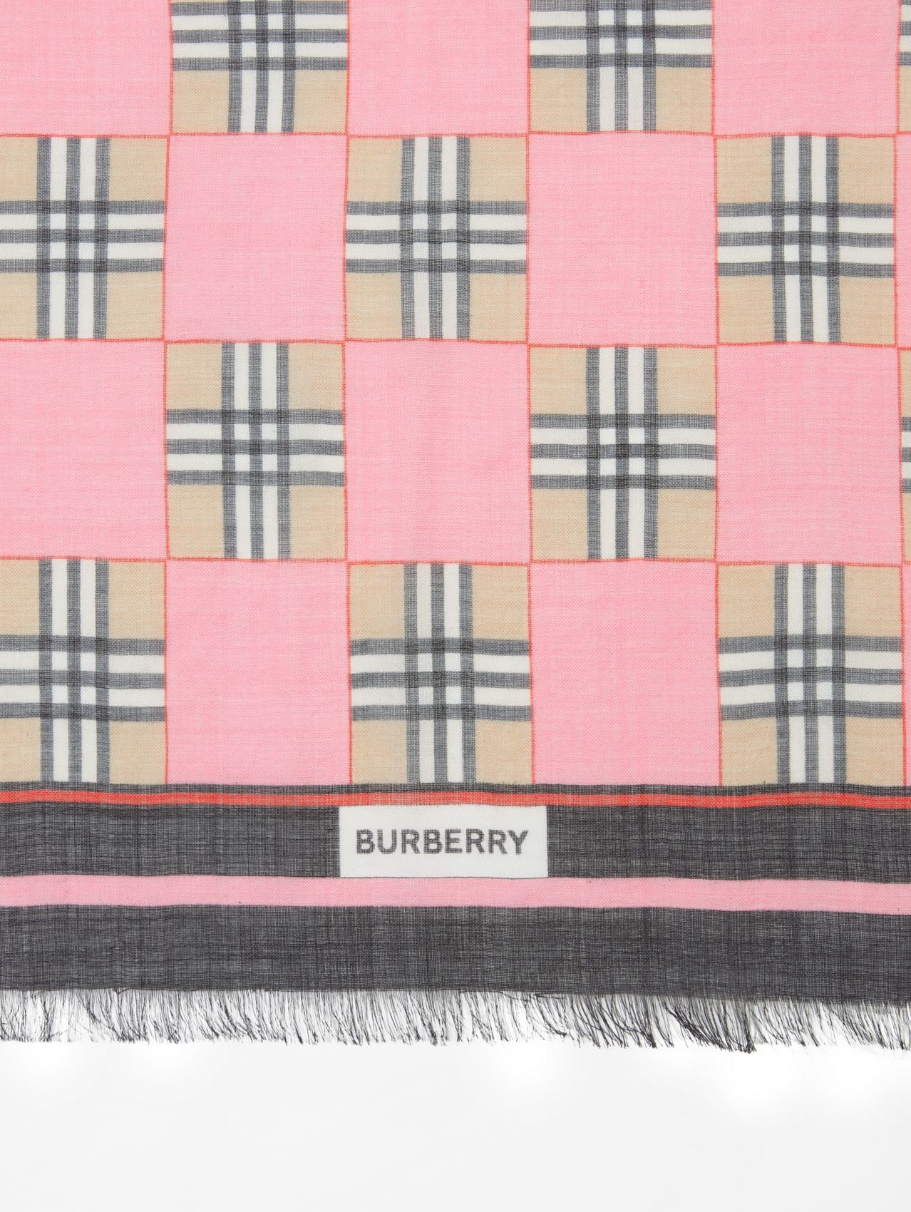 Chequer Print Wool Silk Scarf in Pink