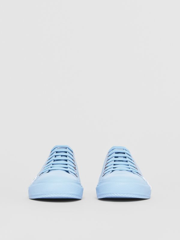 Logo Print Cotton Gabardine Sneakers in Blue Overdyed - Men | Burberry Singapore - cell image 2
