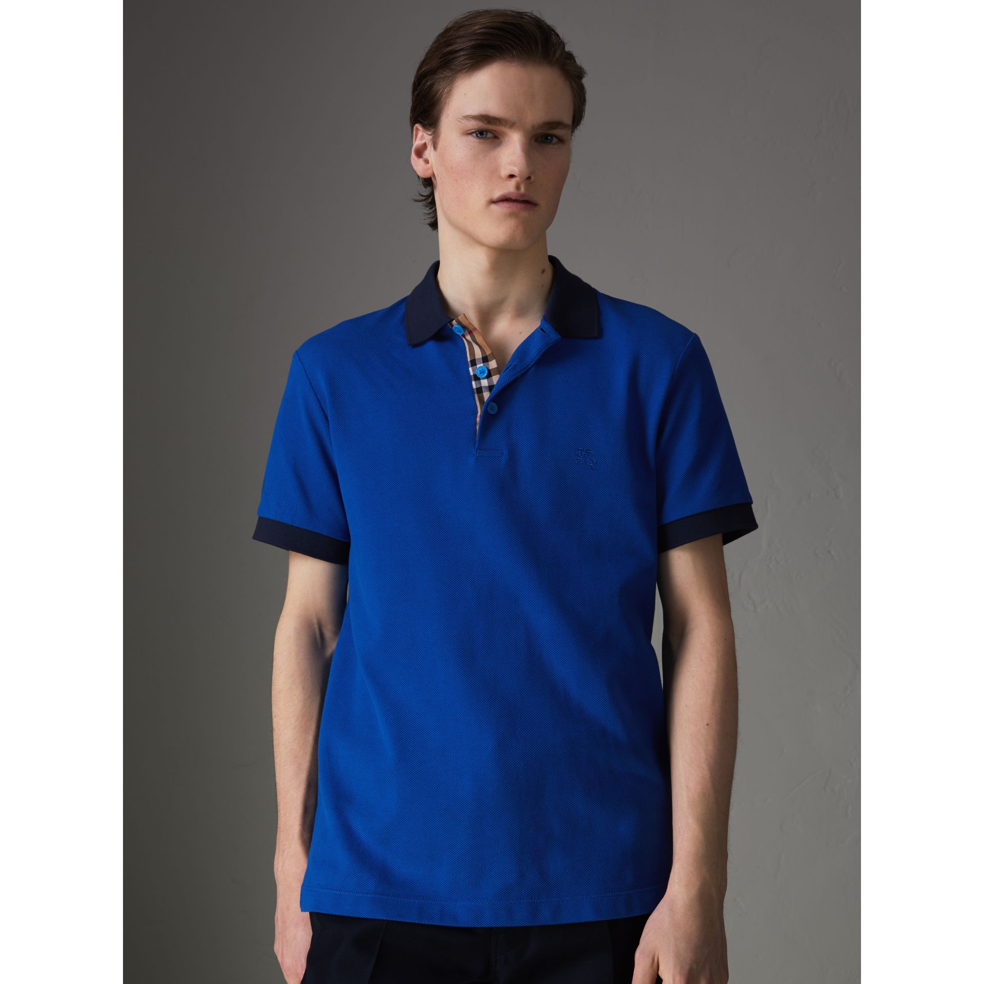 Contrast Collar Cotton Polo Shirt in Cerulean Blue - Men | Burberry - gallery image 4