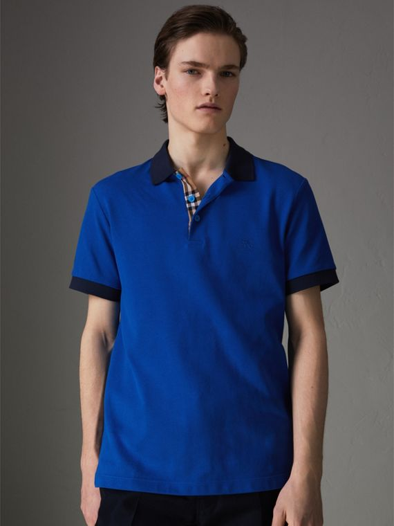 Contrast Collar Cotton Polo Shirt in Cerulean Blue