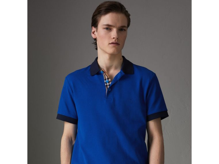 Contrast Collar Cotton Polo Shirt in Cerulean Blue - Men | Burberry - cell image 4