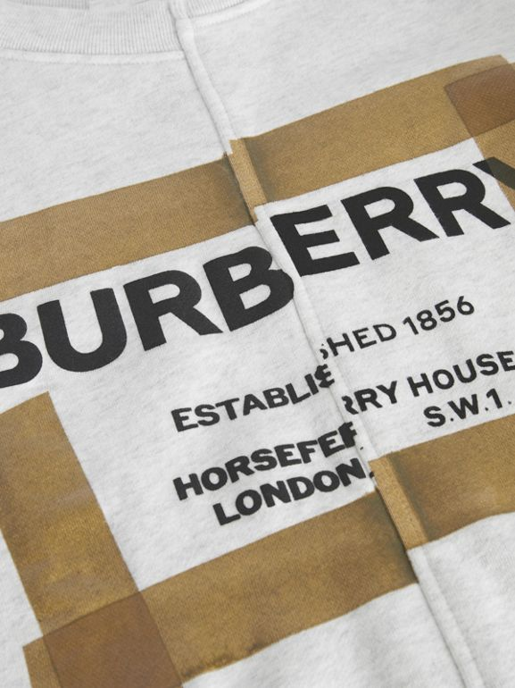 Horseferry Print Cotton Sweatshirt in White Melange | Burberry United Kingdom - cell image 1