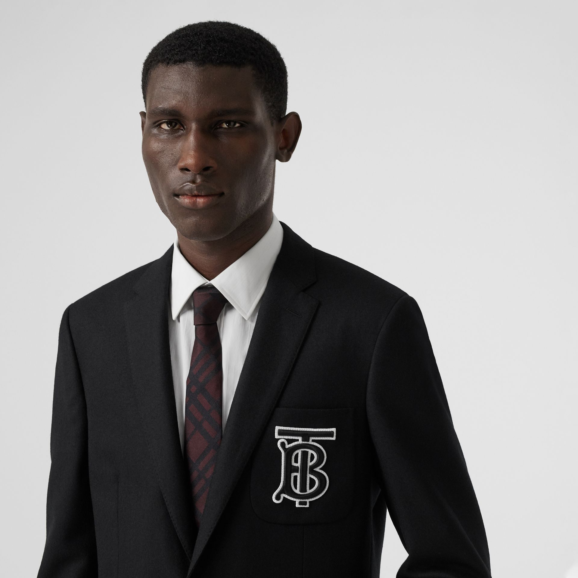 Slim Fit Monogram Motif Wool Flannel Tailored Jacket in Black - Men | Burberry - gallery image 4