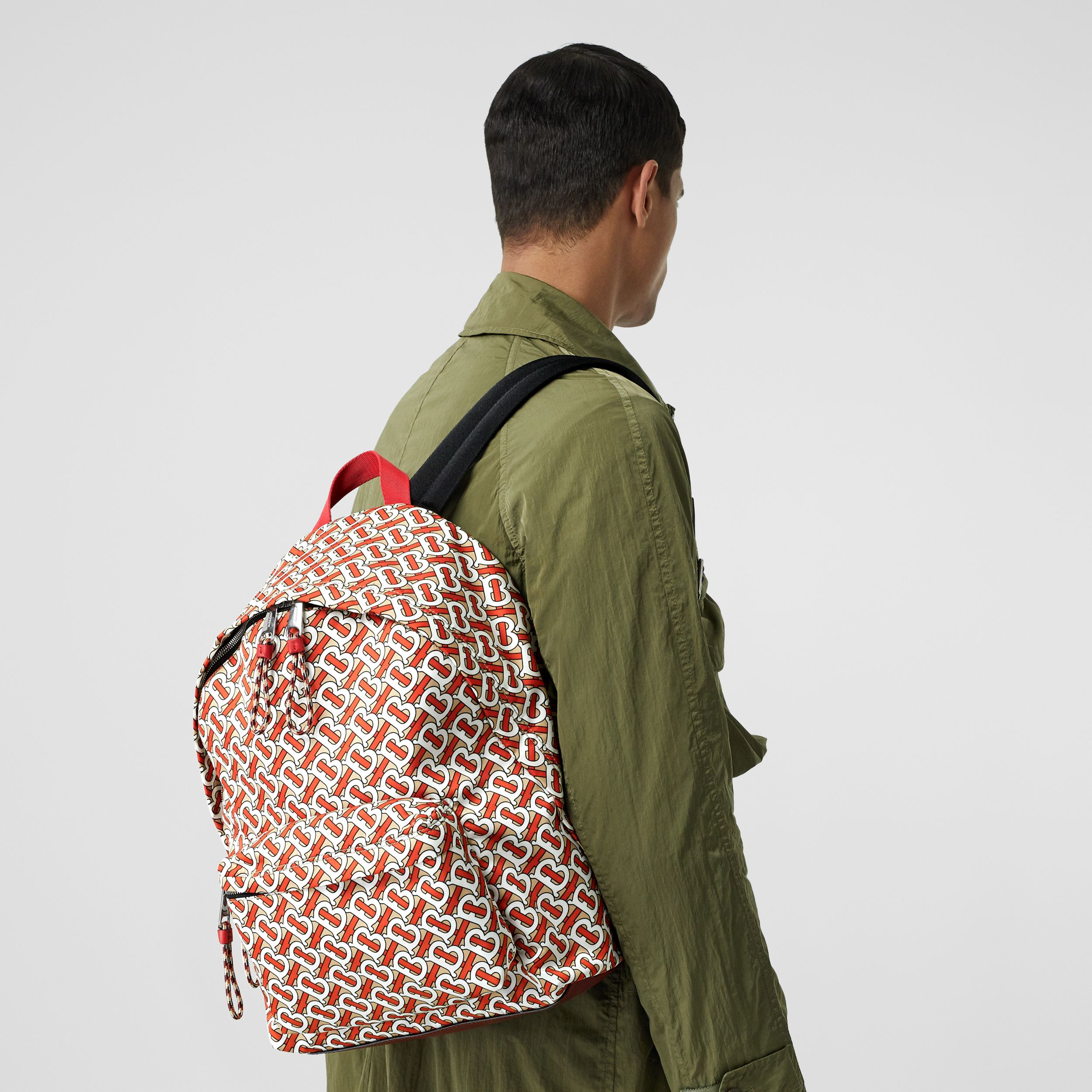 Monogram Print Nylon Backpack in Vermillion | Burberry - 4
