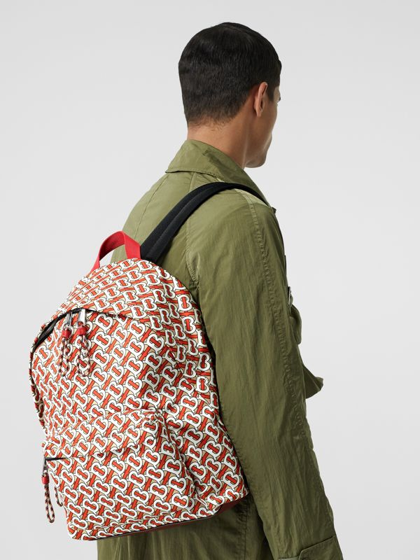 Monogram Print Nylon Backpack in Vermillion | Burberry - cell image 2