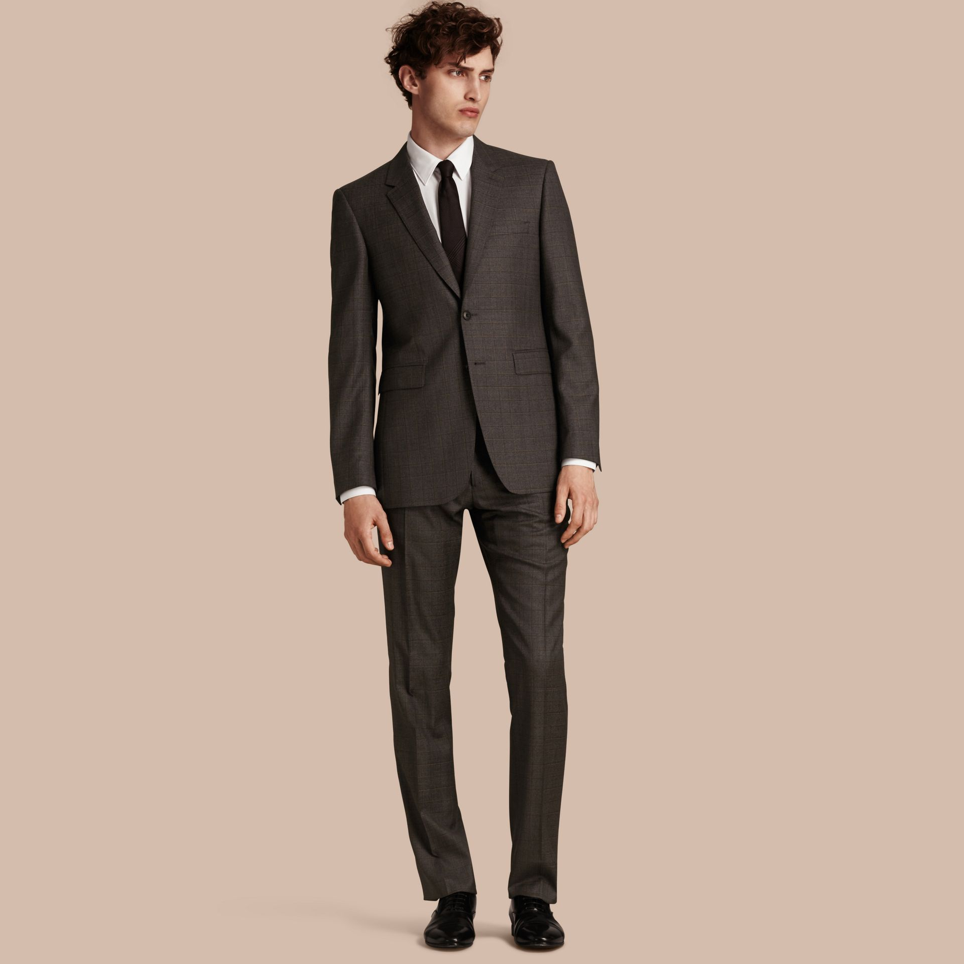 Dark grey melange Modern Fit Check Wool Part-canvas Suit - gallery image 1